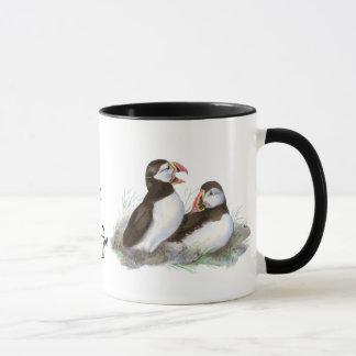 "Custom ""I love my Puffin"", Cute Watercolor Puffins Mug"