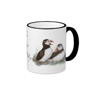 "Custom ""I love my Puffin"", Cute Watercolor Puffins Ringer Coffee Mug"