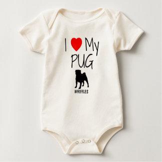 Custom I Love My Pug Baby Bodysuit