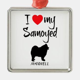 Custom I Love My Samoyed Square Metal Christmas Ornament