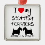 Custom I Love My Scottish Terriers Christmas Ornaments