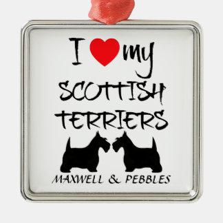 Custom I Love My Scottish Terriers Square Metal Christmas Ornament