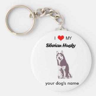Custom I love my Siberian Husky key chain