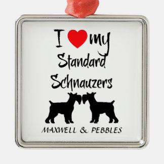 Custom I Love My Standard Schnauzers Metal Ornament