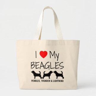 Custom I Love My Three Beagles Large Tote Bag