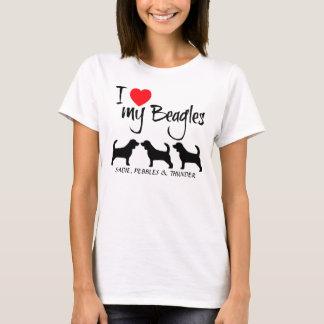 Custom I Love My Three Beagles T-Shirt