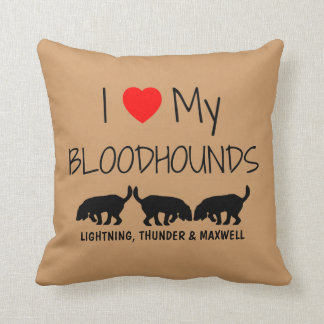 Custom I Love My Three Bloodhounds Pillow