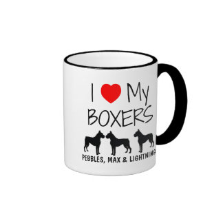 Custom I Love My Three Boxers Ringer Mug