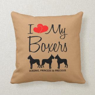 Custom I Love My Three Boxers Throw Pillow