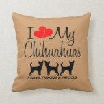 Custom I Love My Three Chihuahua Dogs Pillow