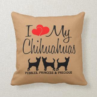 Custom I Love My Three Chihuahua Dogs Throw Pillow