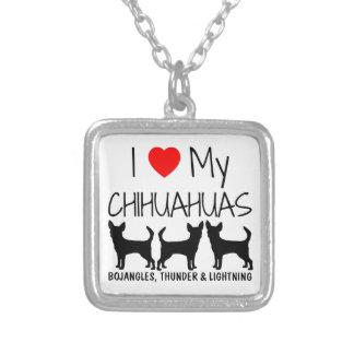 Custom I Love My Three Chihuahuas Square Pendant Necklace