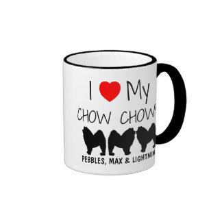 Custom I Love My Three Chow Chows Ringer Coffee Mug