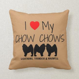 Custom I Love My Three Chow Chows Throw Pillow