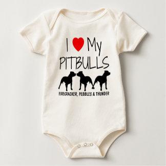 Custom I Love My Three Pitbulls Baby Bodysuit