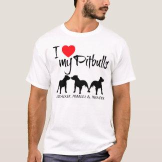 Custom I Love My Three Pitbulls T-Shirt