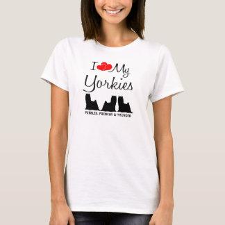 Custom I Love My Three Yorkies T-Shirt
