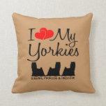 Custom I Love My Three Yorkies Throw Pillow