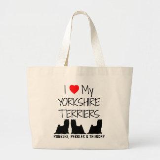 Custom I Love My Three Yorkshire Terriers Large Tote Bag