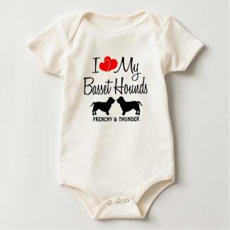 Custom I Love My Two Basset Hounds Baby Bodysuit