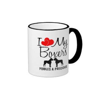 Custom I Love My Two Boxer Dogs Mug