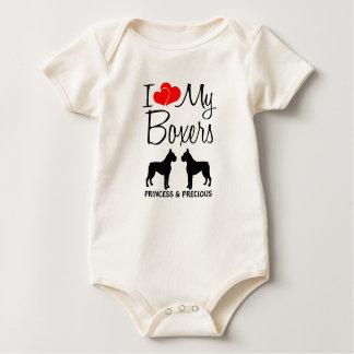 Custom I Love My Two Boxers Baby Bodysuit