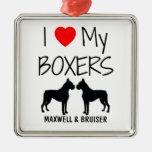 Custom I Love My Two Boxers Metal Ornament