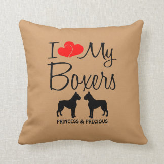 Custom I Love My Two Boxers Throw Pillow