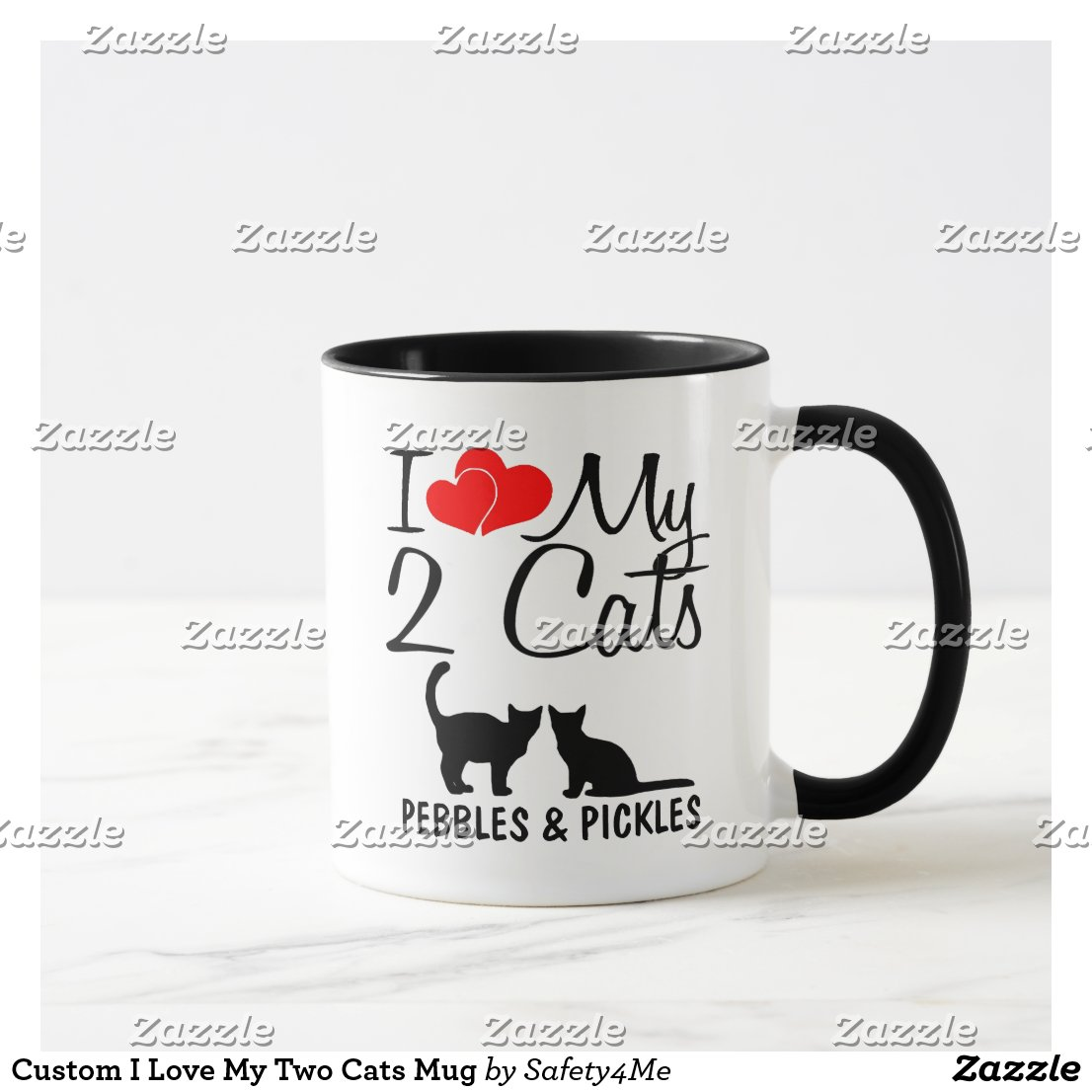 Custom I Love My Two Cats Mug