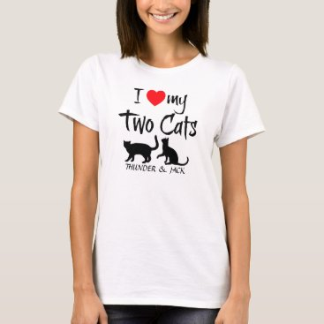 Valentines Themed Custom I Love My Two Cats T-Shirt