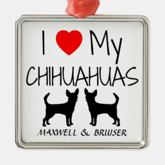 Custom I Love My Two Chihuahua Dogs Square Metal Christmas Ornament