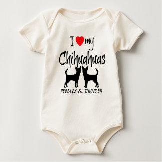 Custom I Love My Two Chihuahuas Baby Creeper
