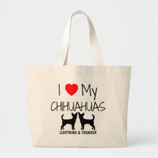 Custom I Love My Two Chihuahuas Large Tote Bag