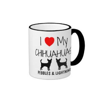Custom I Love My Two Chihuahuas Ringer Mug