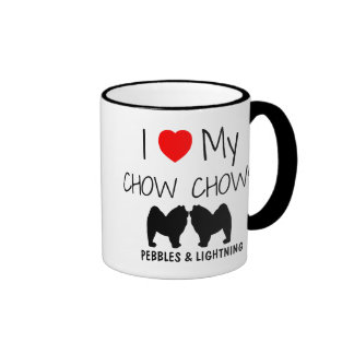 Custom I Love My Two Chow Chows Ringer Coffee Mug