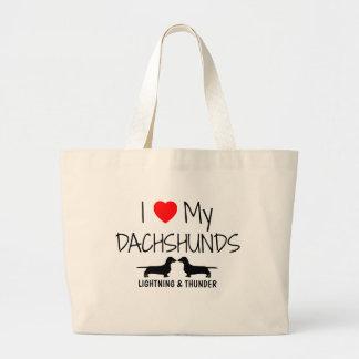 Custom I Love My Two Dachshunds Large Tote Bag