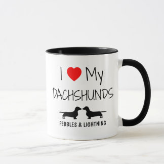 Custom I Love My Two Dachshunds Mug