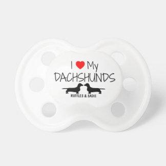 Custom I Love My Two Dachshunds Pacifier
