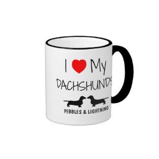 Custom I Love My Two Dachshunds Ringer Mug