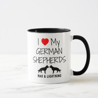 Custom I Love My Two German Shepherds Mug