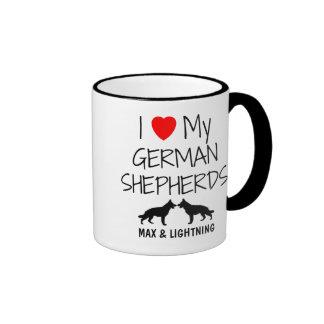 Custom I Love My Two German Shepherds Ringer Mug