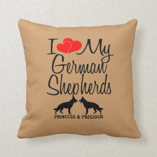 Custom I Love My Two German Shepherds Throw Pillow