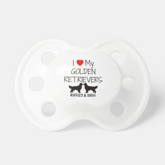 Custom I Love My Two Golden Retrievers Pacifier