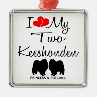 Custom I Love My Two Keeshonden Ornament