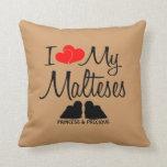 Custom I Love My Two Malteses Throw Pillows
