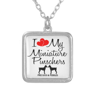 Custom I Love My Two Miniature Pinschers Necklace