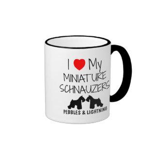 Custom I Love My Two Miniature Schnauzers Ringer Mug