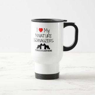 Custom I Love My Two Miniature Schnauzers Travel Mug