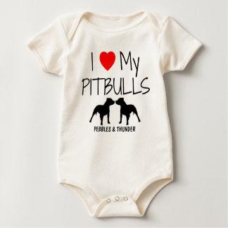 Custom I Love My Two Pitbulls Baby Bodysuit