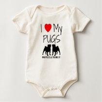 Custom I Love My Two Pugs Baby Bodysuit